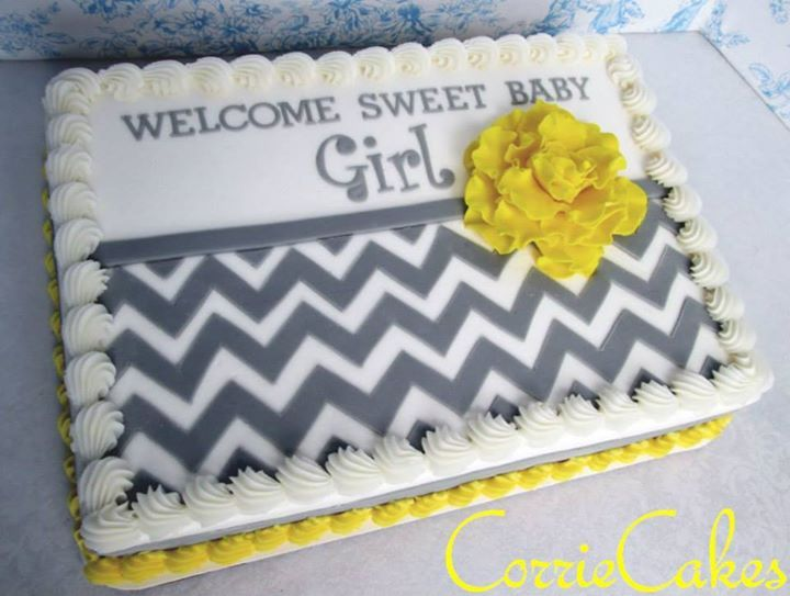 Chevron Baby Shower cake by CorrieCakes