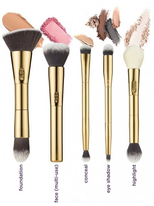 Hot Tarte Double-Ended Gold Handle Foundation Conceal Highlight Makeup Brushes #Unbranded