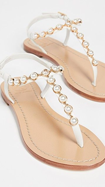 f7359103672 Emmy Pearl Sandals in 2019 | shoes. | Pearl sandals, Jeweled sandals ...