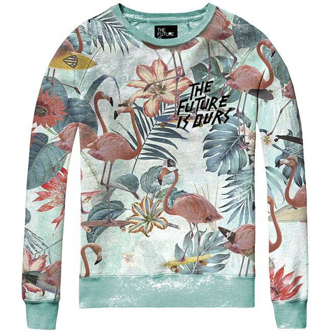 Zomerse The Future is Ours sweater Flamingo, fijne jongens trui met all over print van skateboardende flamingo's. De boys sweater heeft een ronde hals. http://stoerkids.nl/shop/kinderkleding/stoere-jongenskleding/the-future-is-ours-sweater-flamingo/