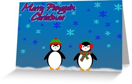 Merry Penguin Christmas card by emilypigou. #cards #greetingcard #christmascard #xmascard #postcard #stationerycards #christmas #xmas #redbubble #wishes #joy #holidayseason #merrychristmas #family #kids #online #shopping #merrychristmascards #gifts #stars #snow #colorful #happiness #life #art #design #love #cozy #xmasgifts #christmasgifts #home #fireplace #stockings #giftsforhim #giftsforher #39   • Also buy this artwork on stationery, apparel, stickers, and more.