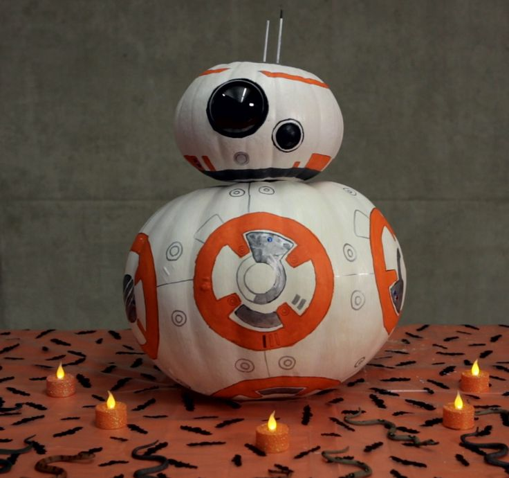 Carve a pumpkin in the likeness of BB-8 from Star Wars: The Force Awakens in honor of National Pumpkin Day!