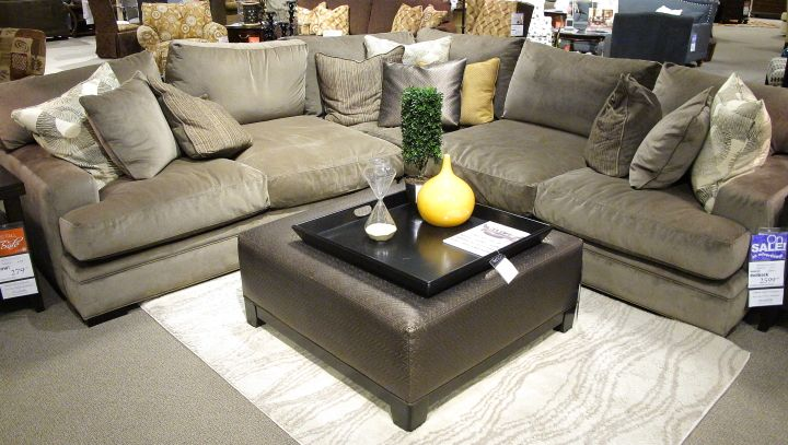 """Cindy Crawford """"Fontaine"""" gray suede sectional. Wish list!"""