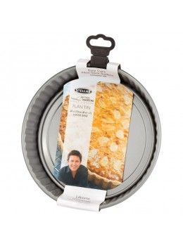 The James Martin Bakers Dozen Stellar Bakeware Loose Base Round Flan Pan is perfect for making bakewell tart, cornflake tart, or a fresh summer fruit tart, YUM!