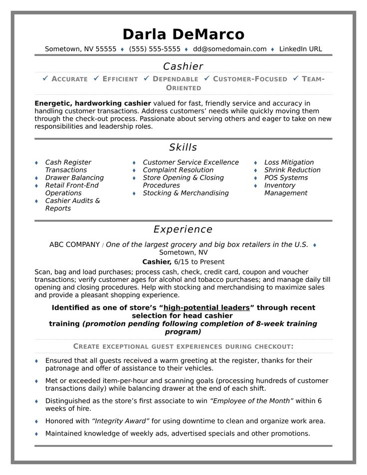 The 25+ best Cashiers resume ideas on Pinterest Artist resume - fast food resume