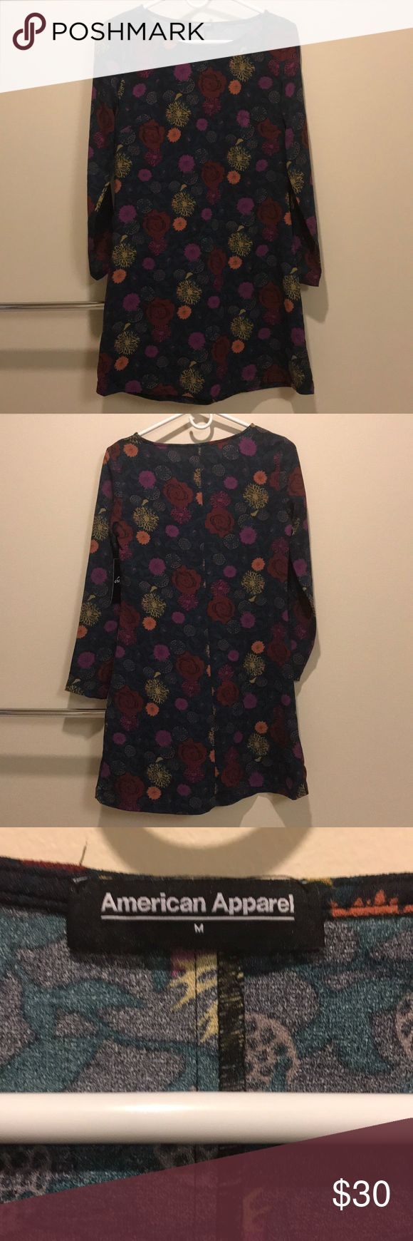 BNWT American Apparel long sleeve floral dress This is for a BNWT american Apparel size medium long sleeve floral dress. It has blues, yellows, reds, pinks, and oranges through the dress. It is 95% polyester and 5% elastane. American Apparel Dresses