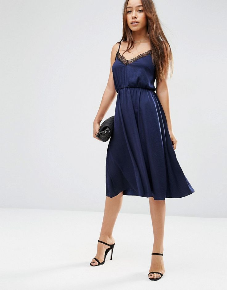 ASOS Hammered Satin Lace Trim Cami Midi Dress