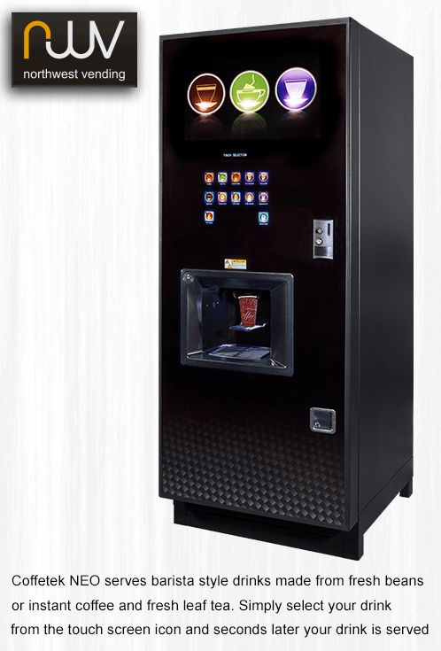 The stylish looking NEO is beautifully finished in smoked glass and offers a wide selection of barista quality drinks from its easy to use touch button menu. #Coffetek, #Neo, #Espresso, #Vending