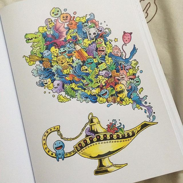72 Best Doodle Invasion Coloring Book Completed Pages Inspiration