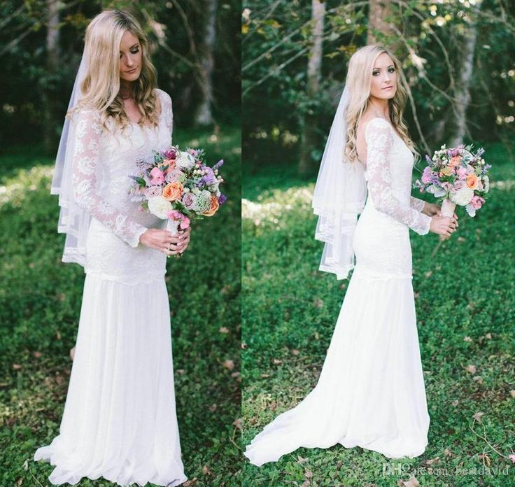 Cheap Antonia Grace Loves Lace Rustic Country Wedding Dresses 2016 Sheer Long Sleeve Backless Chiffon Skirt Floor Length Bridal Gowns Panina Wedding Dresses Vintage Dresses Online From Bestdavid, $115.58  Dhgate.Com