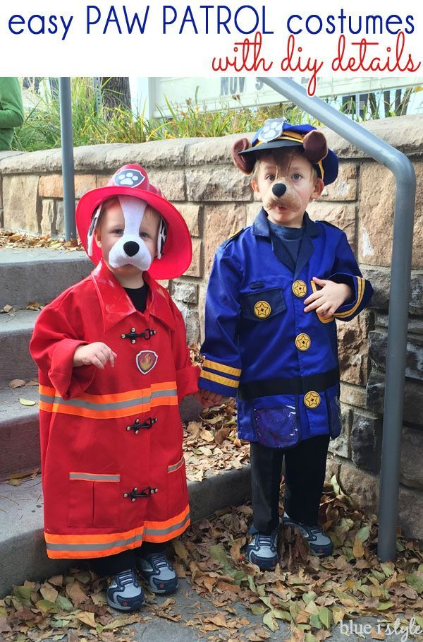 Create easy Paw Patrol costumes for your kids this Halloween. The post includes all of the simple DIY details for these Marshall and Chase Halloween costumes inspired by Nick Jr's Paw Patrol.
