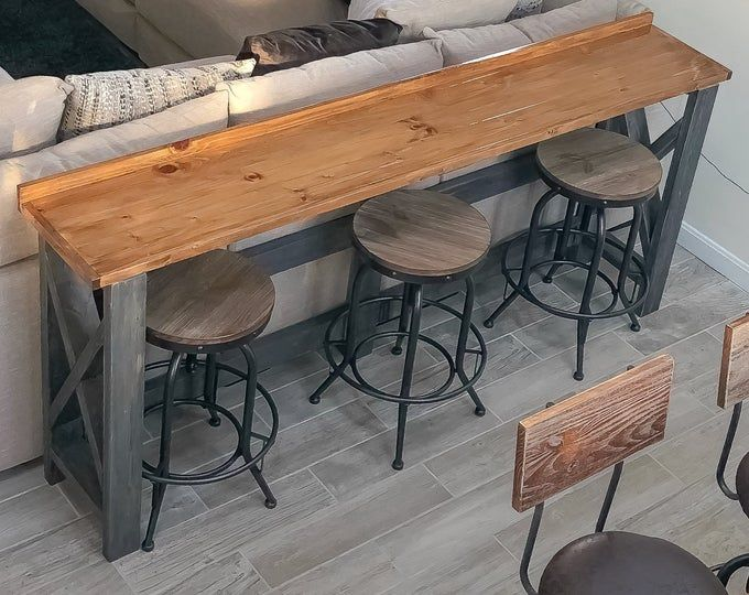 Live Edge Sofa Table Home Bar Table Etsy In 2020 Wood Bar Table Bar Table Behind Couch Home Bar Table