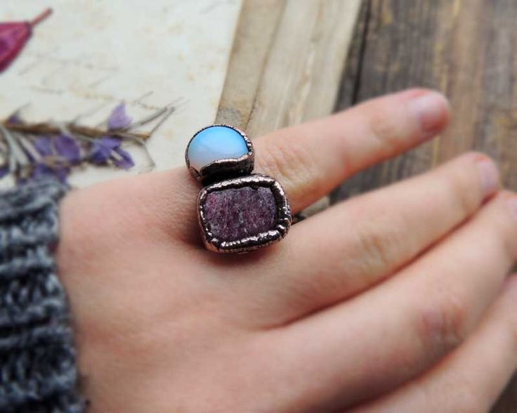 gemstone ring, 7 US size, jade ring, watermelon jade ring, electroformed jewelry, raw ring, raw ring, raw gemstone jewelry by MARIAELA on Etsy https://www.etsy.com/listing/263509480/gemstone-ring-7-us-size-jade-ring
