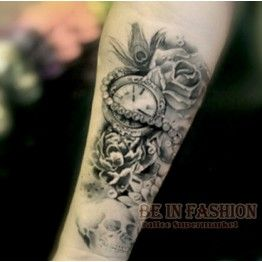 one piece Trendy temporary tattoo flower rose clock jewel death pirate skull tattoos stickers for lower arm body art men QS-C039