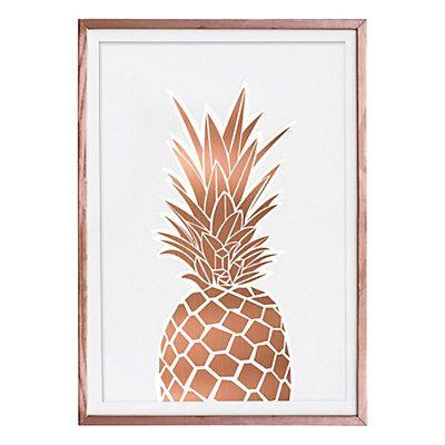 Affiche imprimée encadrée Ananas blanc et coloris cuivre 50 x 70 x 1,6 cm
