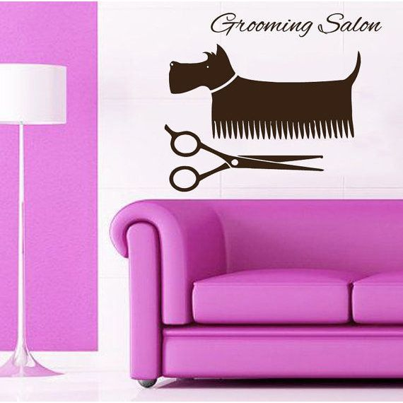 Schnauzer Grooming Salon Dog Quotes Pets Sticker Wall Decor Home Vinyl Art Nursery Room Sticker Decal size 33x45 Color