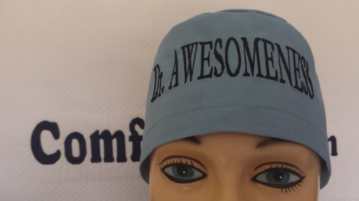 Male scrub cap with custom embroidery on the front.   Custom Comfycaps    Pinterest