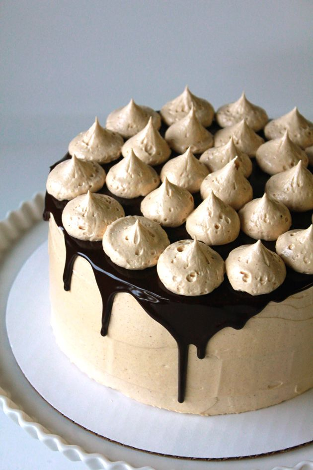 Chocolate Fudge Cake with Peanut Butter Buttercream Frosting and Chocolate Ganache