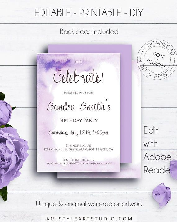 Watercolor Editable Birthday Invitations, on a vivid and minimalist hand-painted blue watercolor background with calligraphy in trendy and shic style.This cute birthday invitation template is an instant download EDITABLE PDF so you can download it right away, DIY edit and print it at home or at your local copy shop by Amistyle Art Studio on Etsy