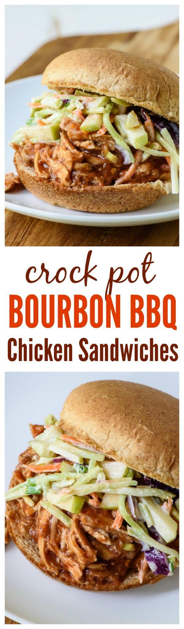 Crock Pot Bourbon BBQ Chicken Sandwiches with Apple Slaw