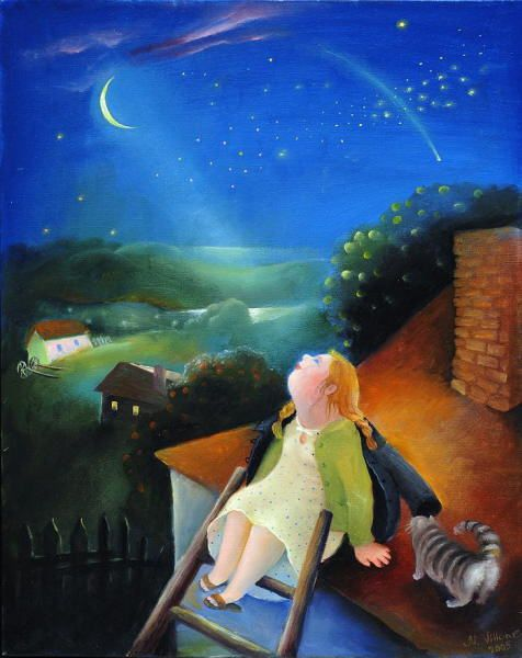 Cat at Night painting. Natasha Villon - Looking to Night Sky