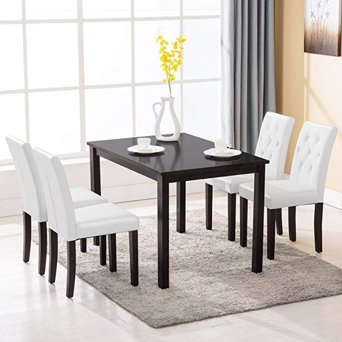 Mecor 5 Piece Dining Table Set Wood Table 4 Leather Chairs Kitchen