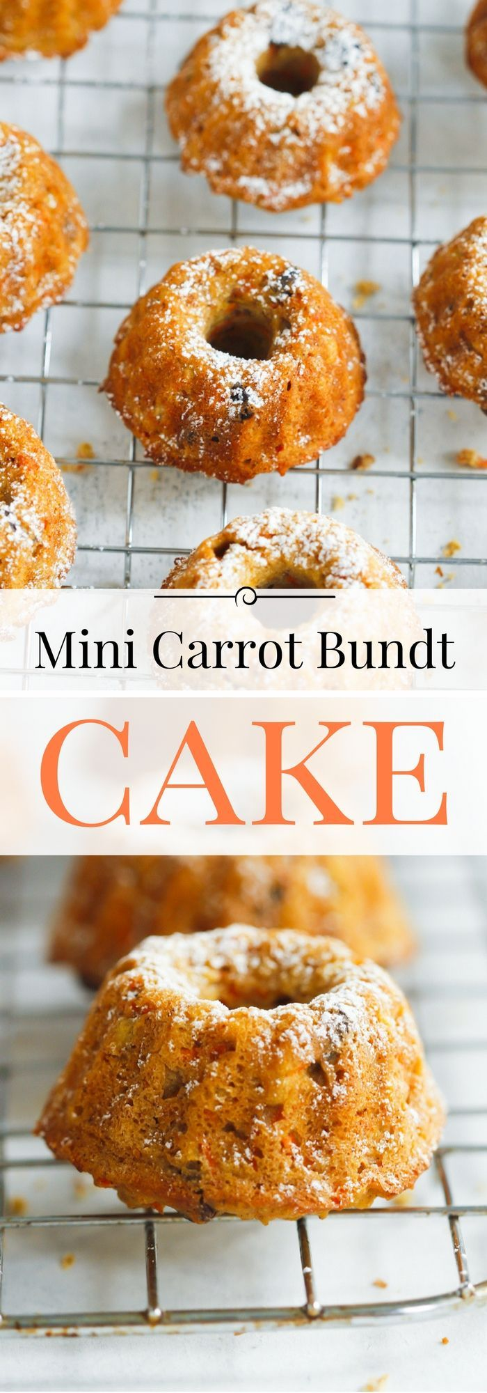 Mini Carrot Bundt Cake - This is the best healthier mini carrot bundt cake recipe ever. It's very easy to make, perfectly spiced with cinnamon and nutmeg and delicious! | www.primaverakitchen.com