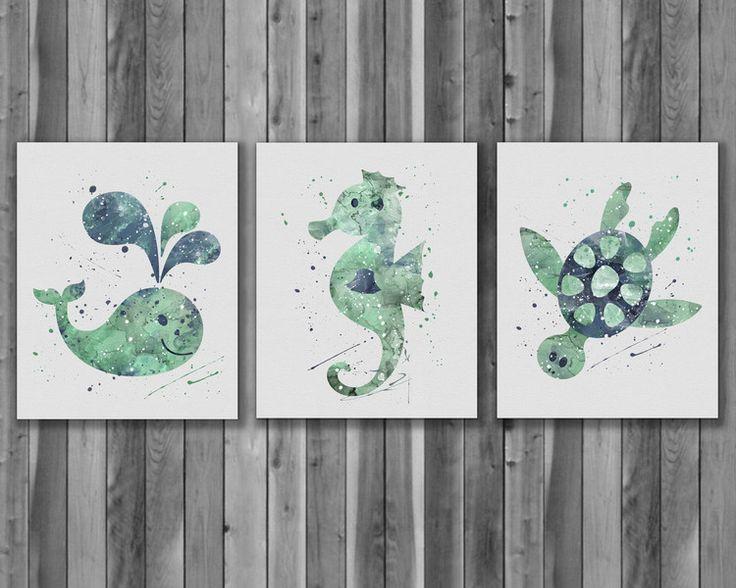 Drucke & Plakate - Meerestiere Aquarell Kinderzimmer druck Geschenk - ein Designerstück von DigitalAquamarine bei DaWanda