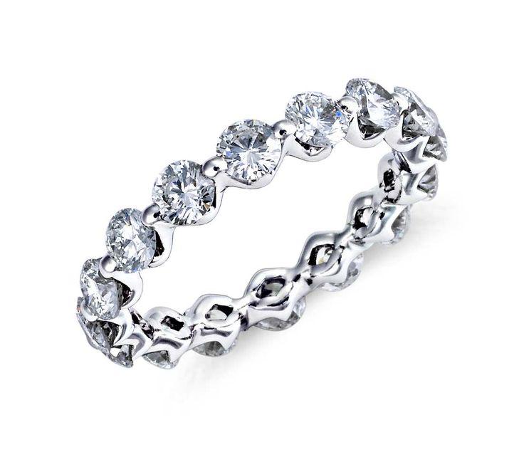 Blue Nile Floating Diamond Eternity Ring in Platinum #wedding