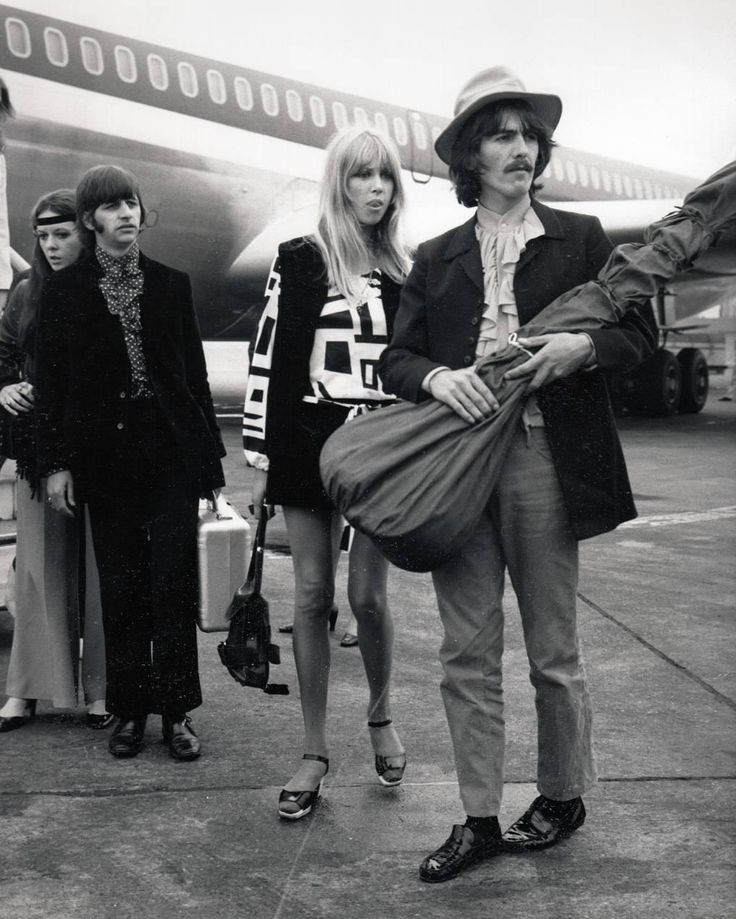 Beatles George Harrison & Ringo Starr with their wives (Patti Boyd and Maureen) at London Airport, 1968   1stdibs.com