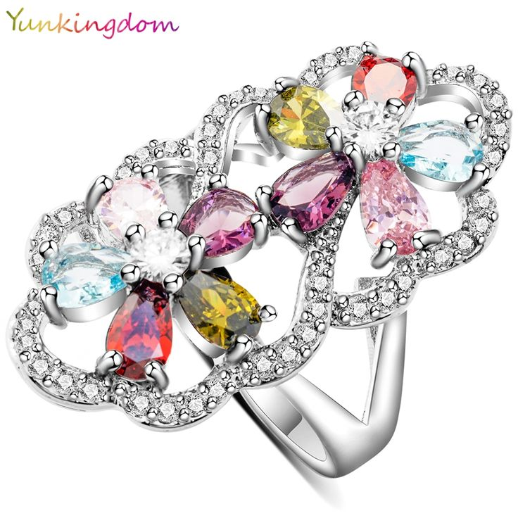 Yunkingdom two flower design rings for women gold plated anel bijouterie big ring female gifts ALP0658