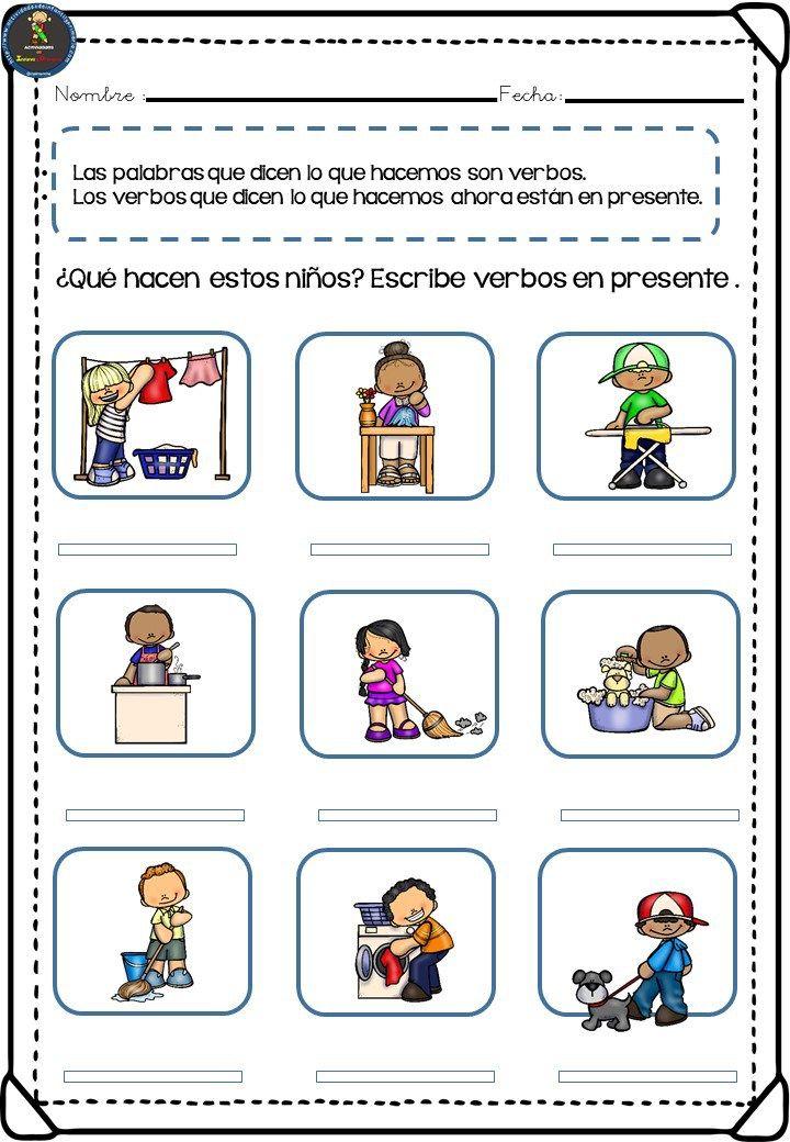 Colección de fichas para trabajar los verbos en primaria - Imagenes  Educativas | Verbos para niños, Actividades verbos, Sustantivos adjetivos y  verbos