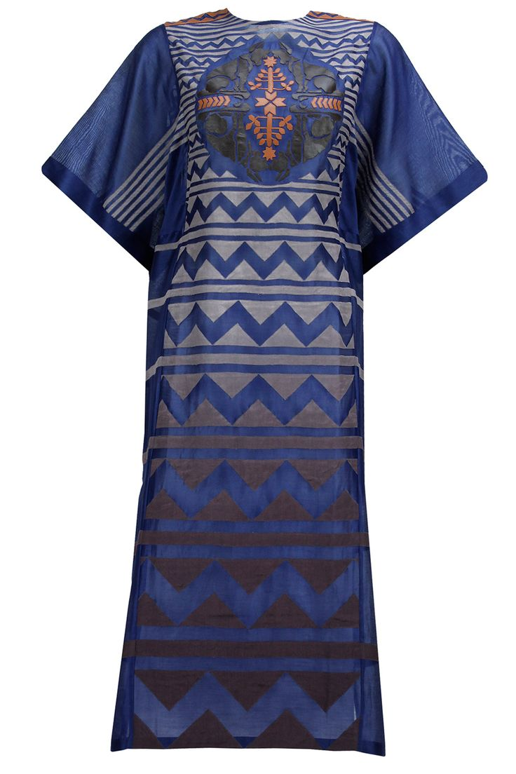 Ink blue ombre and leather applique kaftan tunic available only at Pernia's Pop-Up Shop.