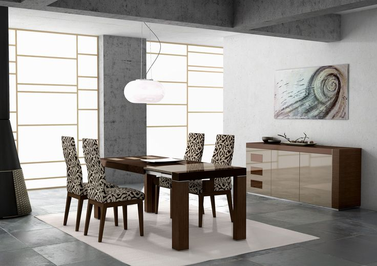 Dining Room Modern Furniture With Dark Wood Dinning Table And Chair Beside Case As Well White Puffy Carpet Abstract Painting