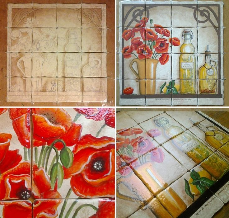 kitchen decor with poppies in a rustic style