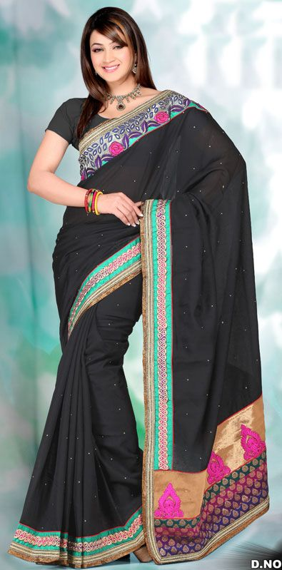 Black Color Cotton Silk Designer Saree TN5030. Sale : $134.90