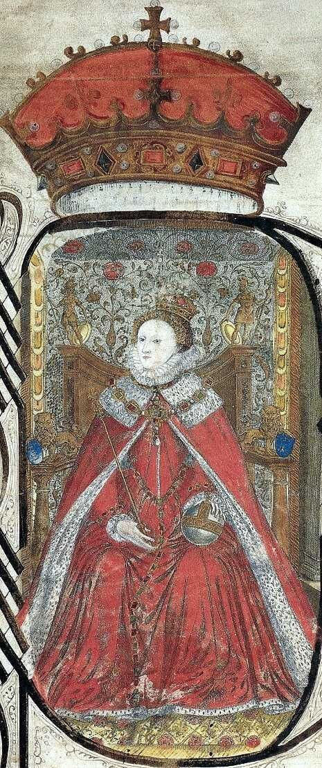Queen Elizabeth's Private Jewels | Manuscript portrait of Elizabeth I, from the Coram Rege Roll