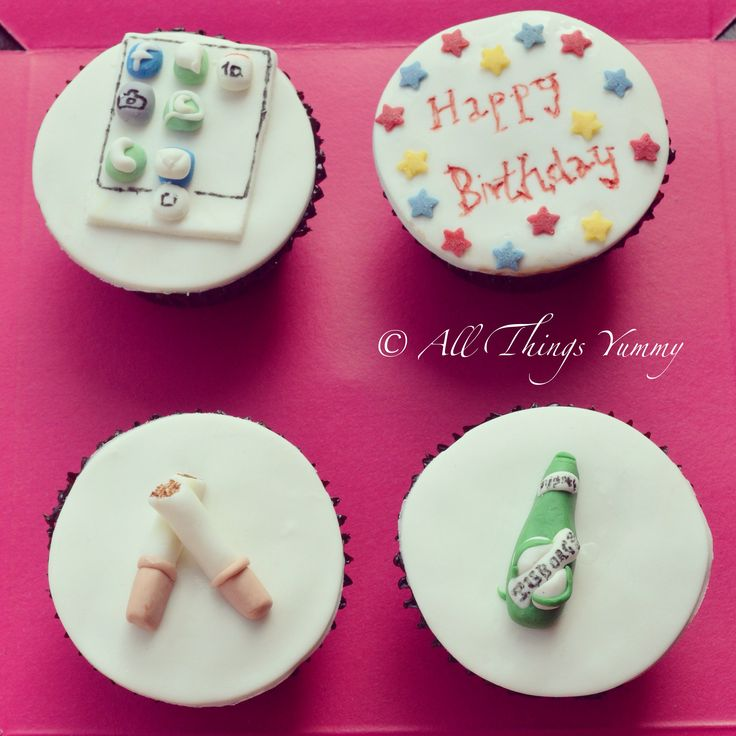 Themed Cupcakes - Favorite Themed Cupcakes | All Things Yummy #happybirthday #iphone #apps #tuborg #beer #cigarettes #apple #stars #beerbottle #pint #whatsapp #facebook #camera #atyummy #cupcAkes #cuppies #customisedcupcakes