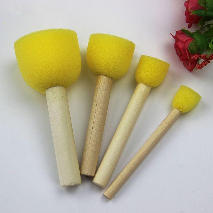 Yellow Sponge Brush Seal Sponge Painting Teaching Tools Original Wooden Handle Children'S Painting Graffiti Kids DIY Doodle