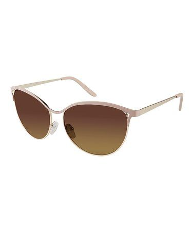 Gold & Nude Browline Sunglasses #zulily #zulilyfinds