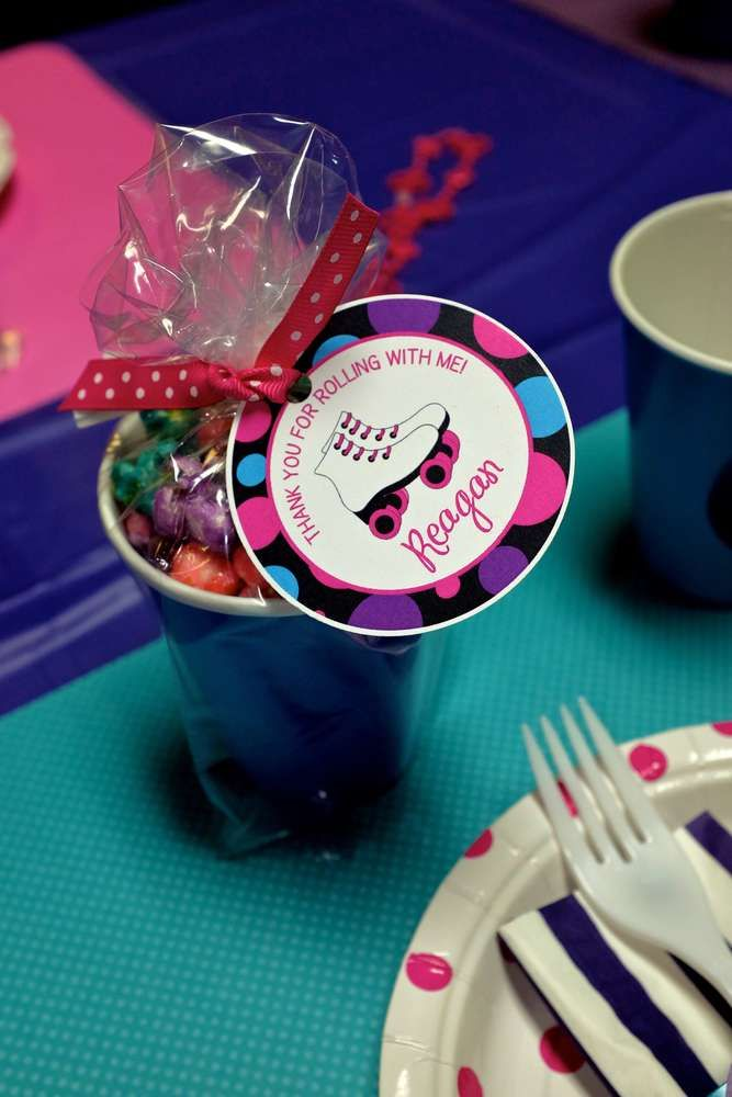 Fun favors at a roller skating birthday party!  See more party planning ideas at CatchMyParty.com!