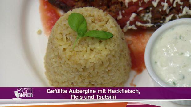 Rezept: Gefüllte Aubergine mit Hackfleisch, Reis und Tsatsiki (Mustafa Alin)