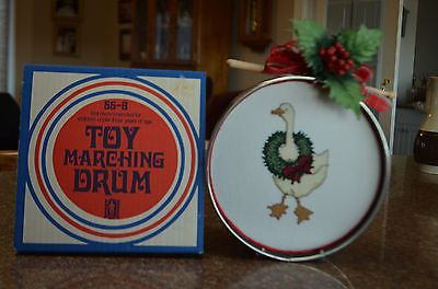 NOBLE AND COOLEY TOY MARCHING DRUM GRANVILLE MASS. 55-8-EMBROIDERY HOLIDAY GOOSE