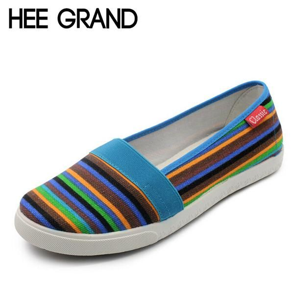 Spring Women Loafers Soft Rainbow Stripe Slip On Flats -Canvas Shoes Woman Plus Size 35-41 XWC423