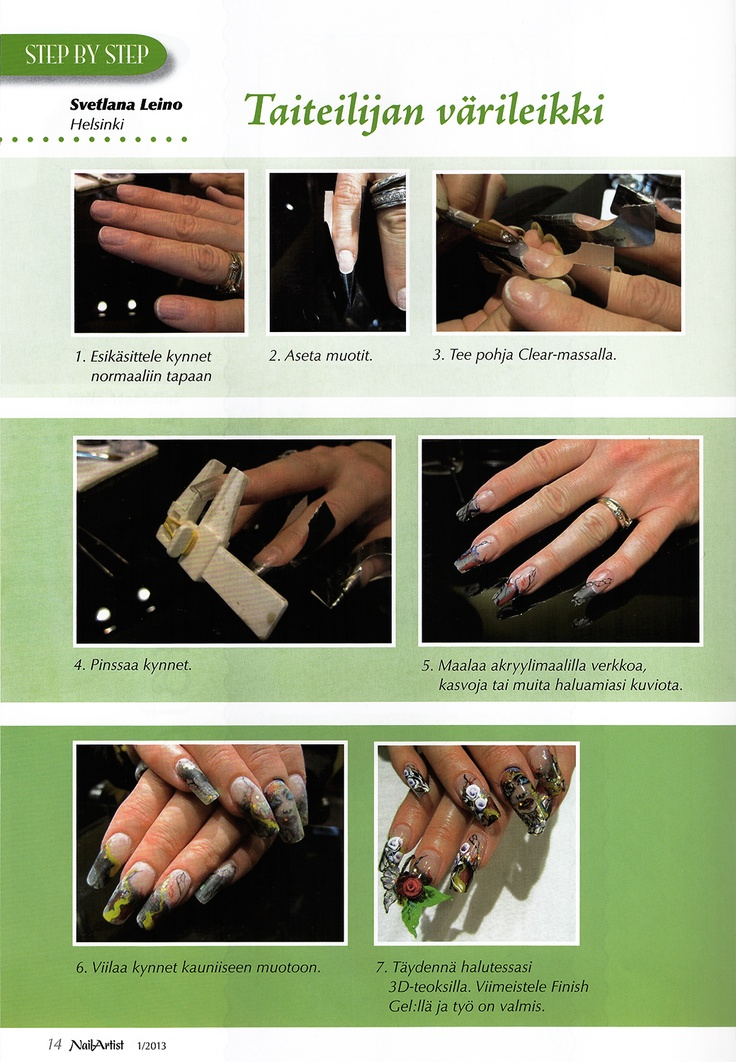 Making of acrylic nails by Svetlana Leino - Nail Artist Magazine 1/2013 www.blackouthair.fi