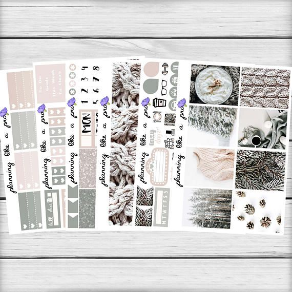 Winter Days Planner Sticker Kit // Fits Erin Condren Vertical
