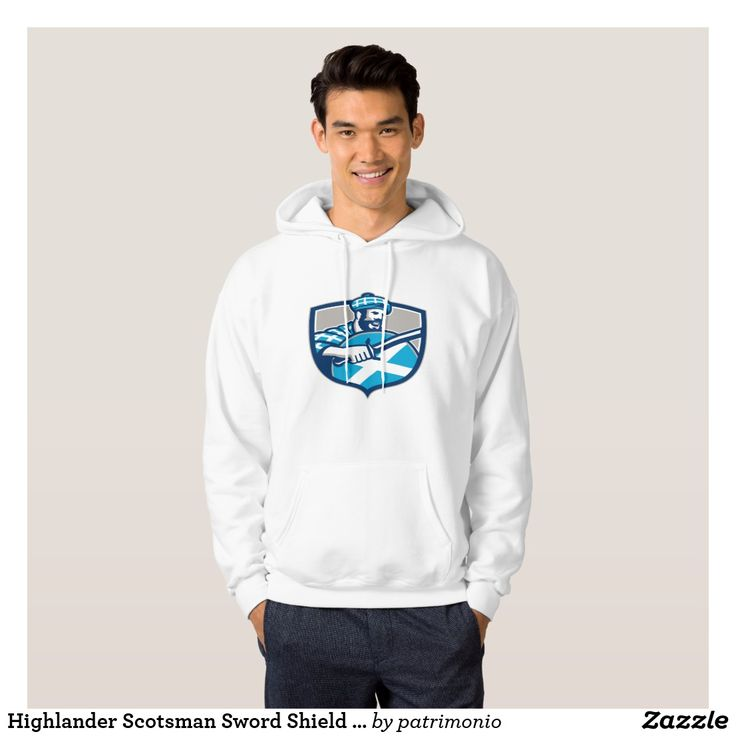 Highlander Scotsman Sword Shield Retro Hoodie. Hoodie for men showing a retro style illustration of a Scottish warrior wearing tartan clothes and hat holding a sword and shield set inside a shield. #hoodie #scotsman #swordandshield