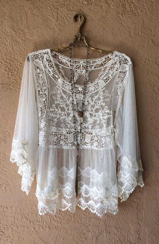 Image of Anthropologie Lace and crochet Boho Gypsy romantic tunic                                                                                                                                                                                 More