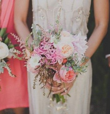 Flowers: Astilbe / Dahlia / English Rose / Peony Floral and Bouquet Inspiration from http://bouquet-bouquet.com