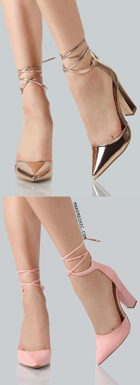 Metallic Point Toe Ankle Wrap Heels